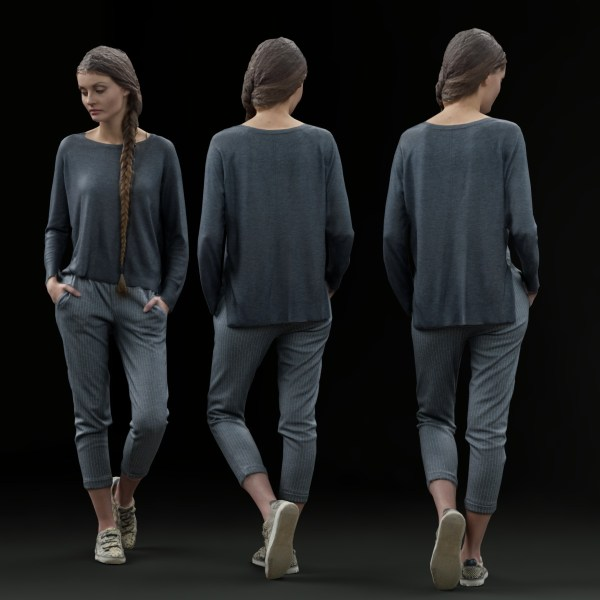 Girl Posing Casual in Grey Outfit