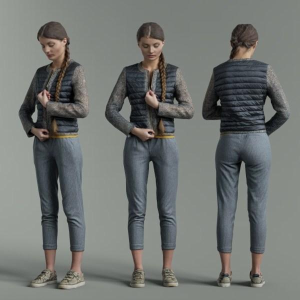 Girl Zipping up Shiny Jacket