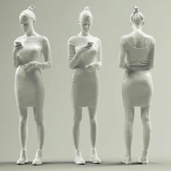 Girl in Grey Dress Texting
