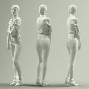 Jeans Jacket Girl in Heels Long Braid