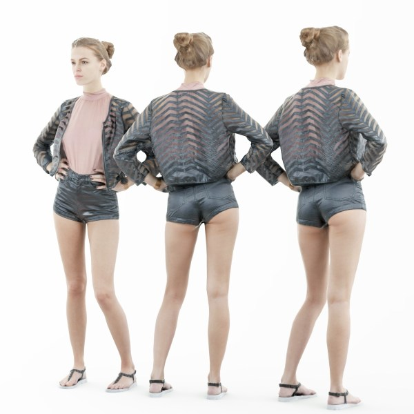 Leather Short Pink Top and Transparant Jacket Girl