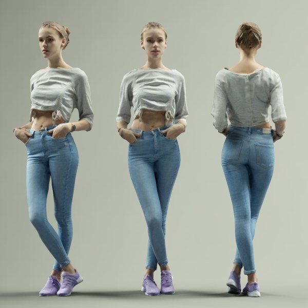 Sporty Girl in Jeans and Pink sneakers Crossing Legs