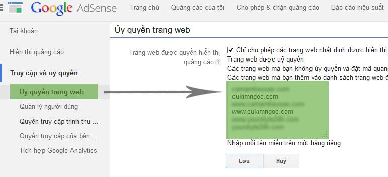Nhập danh sách trang web được ủy quyền hiển thị Quảng Cáo Google Adsense
