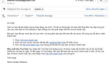 Xác nhận không cần nhập mã PIN sau khi gửi các giấy tờ CHỨNG MINH địa chỉ cho Google AdSense
