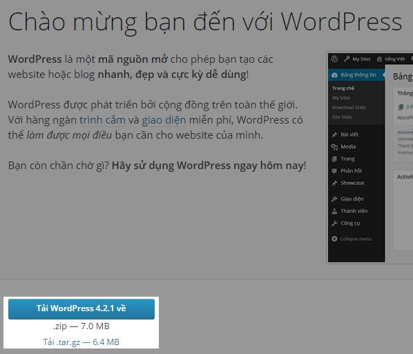 Tải gói cài đặt WordPress tiếng Việt