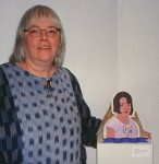 Susan Hyde with her sculture in the MIPCES exhibition