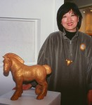 Donna Kato with her work in the MIPCES exhibition