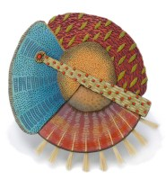 "Kathleen Dustin, Tribal Brooch with Brush, 2014, 3 1/2"" diameter, polymer, horsehair"