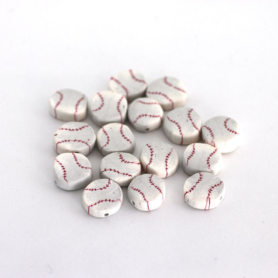 Baseball Canes and Beads from Polymer Clay