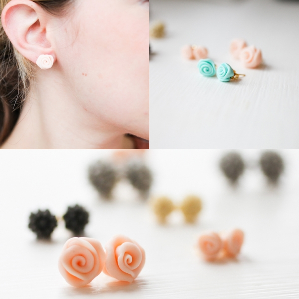 Clay Rose Bud Earrings