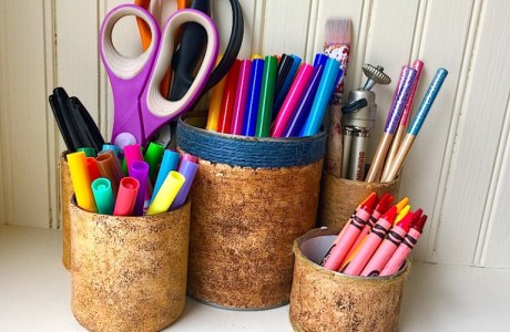 Polymer Clay Faux Cork Desk Organizer