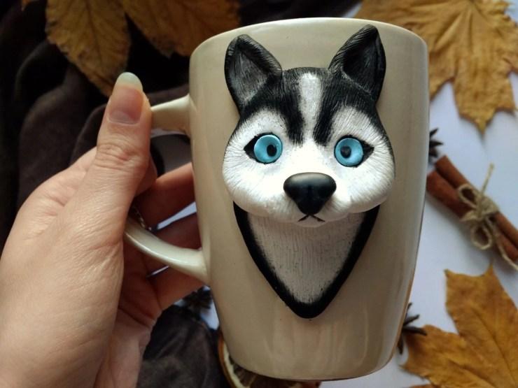 11 Polymer Clay Cup Decor ideas: Husky Dog. Photo tutorial