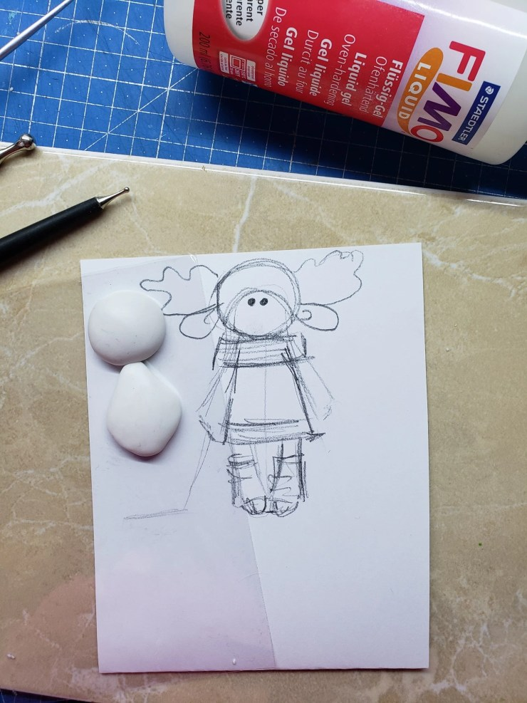 1 Polymer clay decor: Doll dressed up in winter clothes