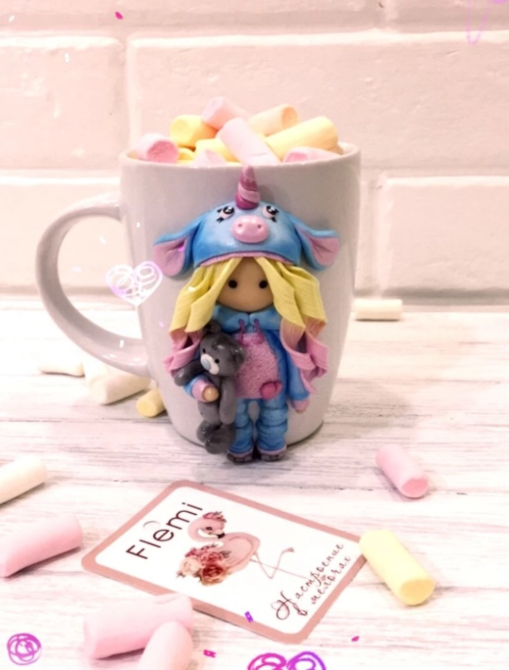 2 Polymer clay decor: Doll in a unicorn costume