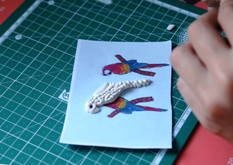 6 Polymer clay earrings: Parrots