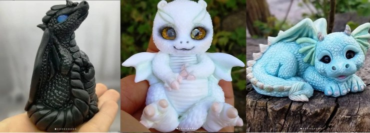 Polymer clay figurines dragons