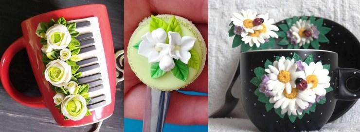 olymer clay decor: Flowers