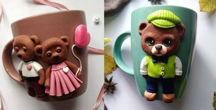 Polymer clay decor: Teddy bears