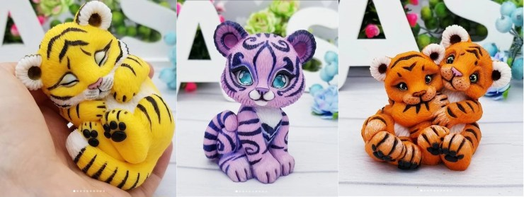Polymer clay figurines tigers