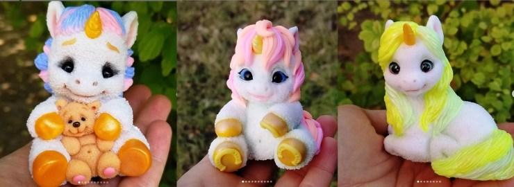 Polymer clay figurines unicorns