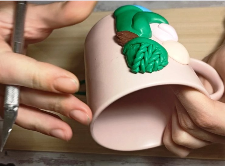 9a. Polymer clay mug decor: Woman with a child. Photo tutorial