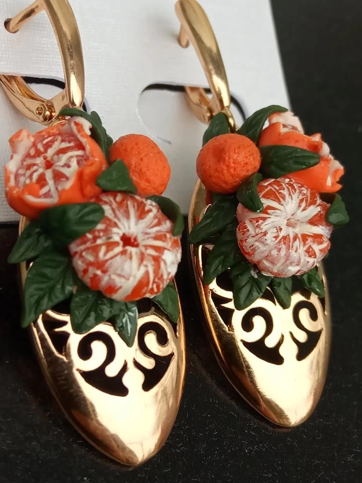 Earrings with Tangerines, earrings made of polymer clay