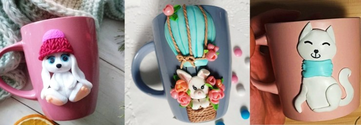 Polymer clay decor: Bunnies and cat