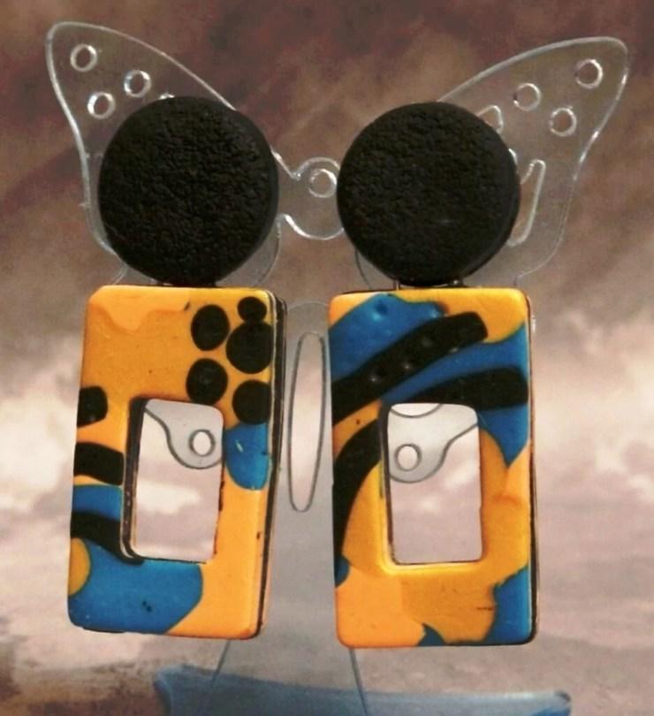 Stylish rectangular Clay Earrings