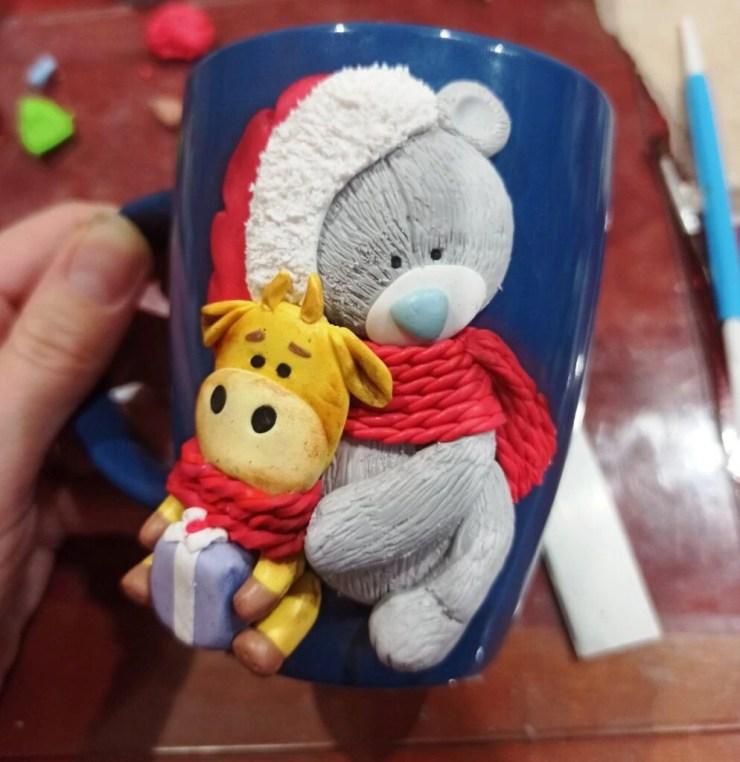 21 Photo tutorial. Polymer clay mug decor: Teddy bear with bull