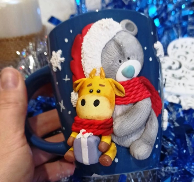 Polymer clay mug decor: Teddy bear with bull