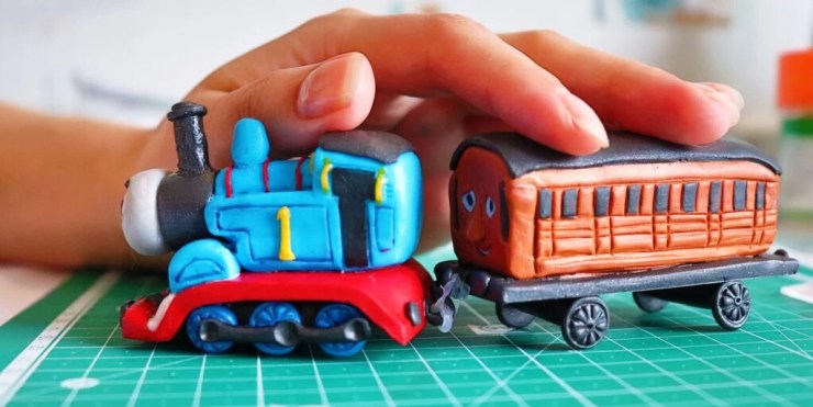 Polymer clay Thomas the engine and Annie's wagon