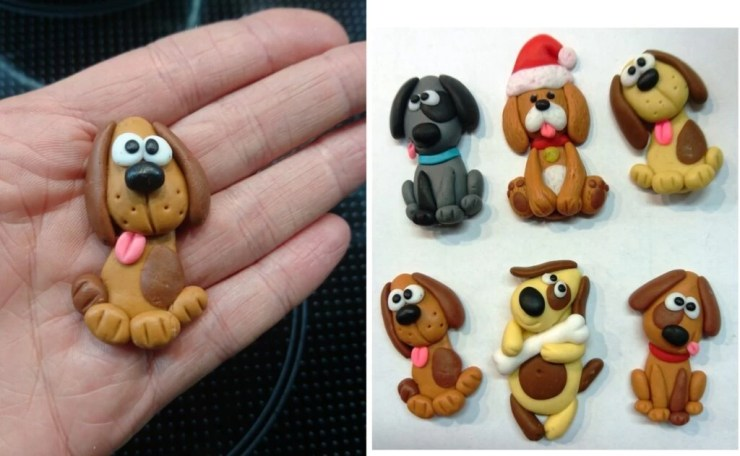Polymer clay brooches ideas for modeling with children: Doggy