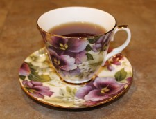 pansy tea cup