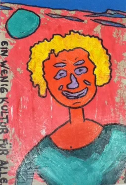 Frau in grünem Pullover, ca. 30 x 40, Öl & Lack auf Papier, 2015