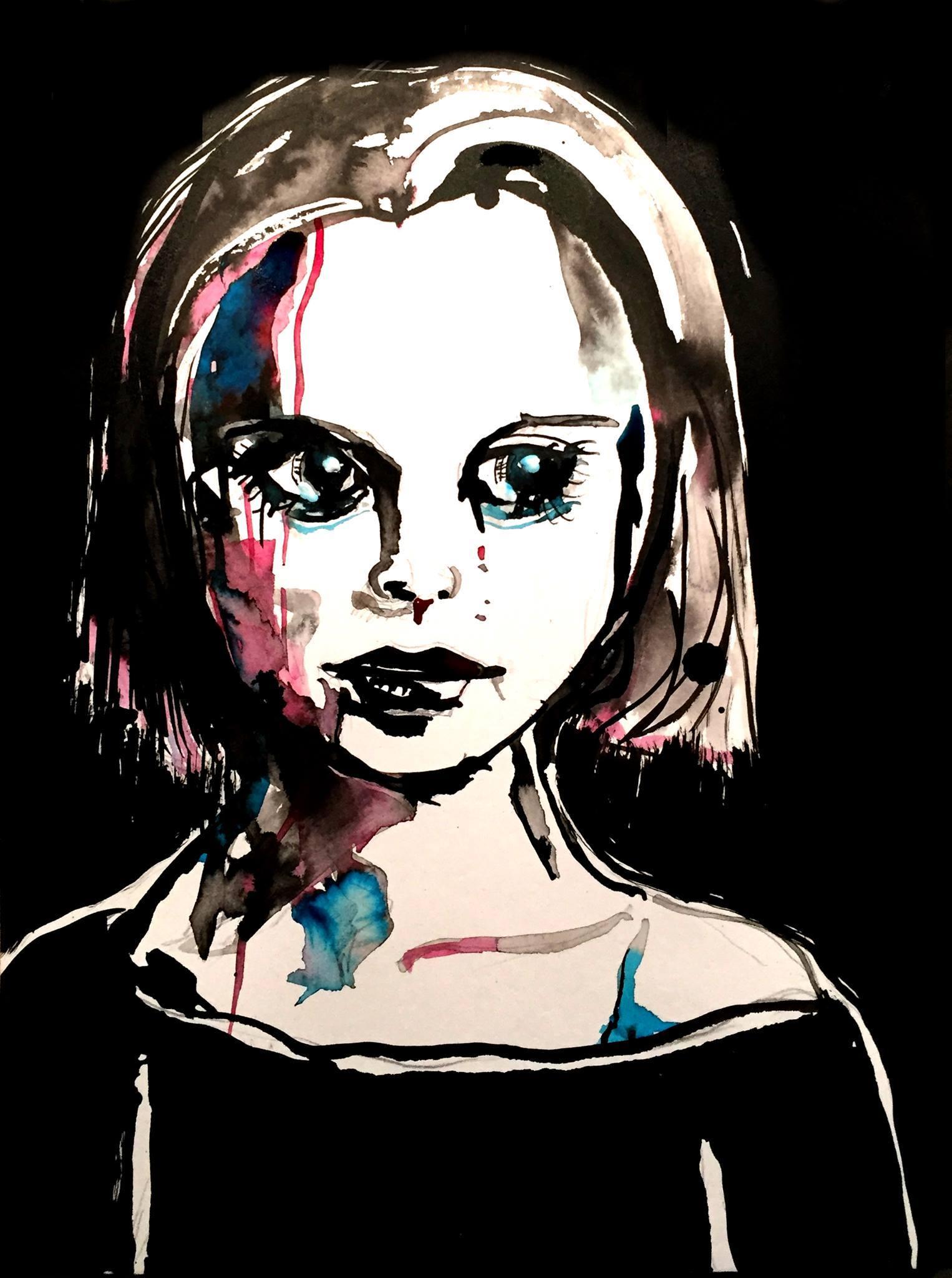 Ich bin zerrissen, zerstückelt, zerhackt, Tusche auf Papier, 32 x 24, 2016
