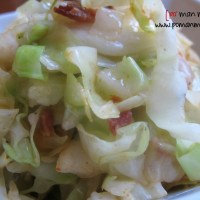 fried cabbage with turkey bacon