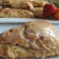 strawberry orange scones with vanilla glaze