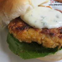 salmon burgers with lemon cilantro mayo