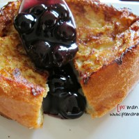 stuffed french toast with blueberry orange syrup