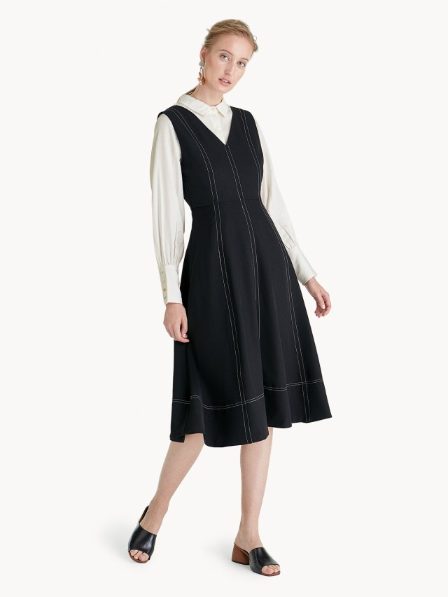 Premium Polyester Midi Fit And Flare Dress Black