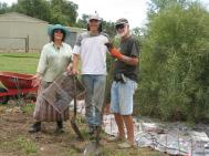 Christine, Keith, Jack working in the new garden