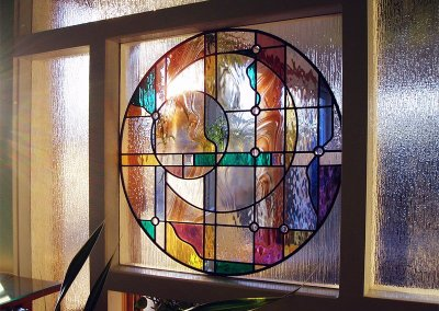 Contemporary stained glass room divider window