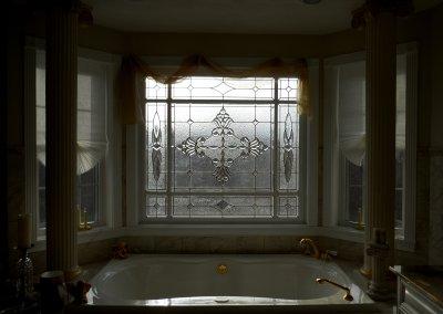 Master Bath beveled glass windw