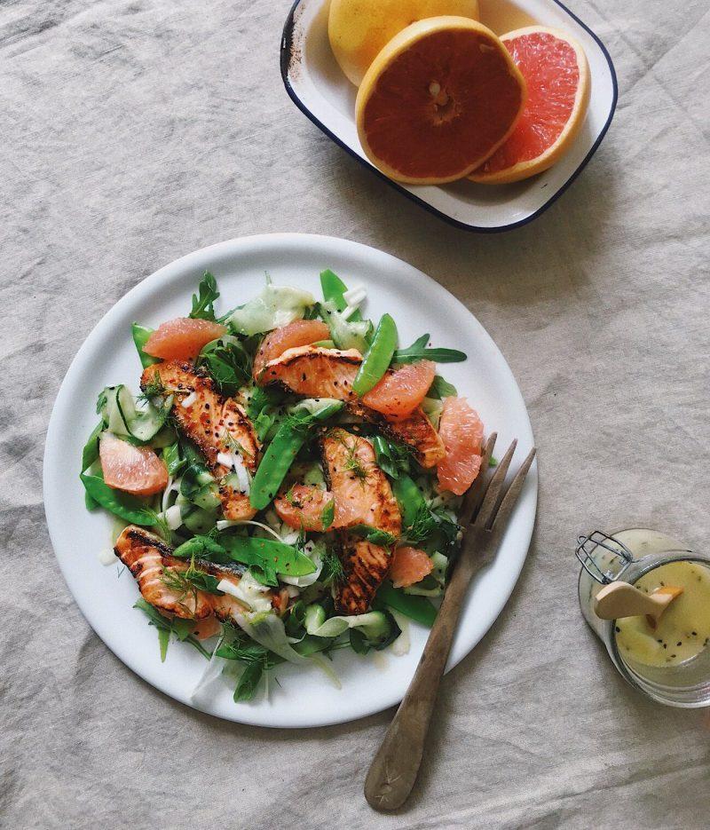 Salmon & Grapefruit Salad with Wasabi Dressing