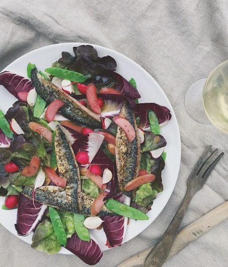 Mackerel & Pickled Rhubarb Salad