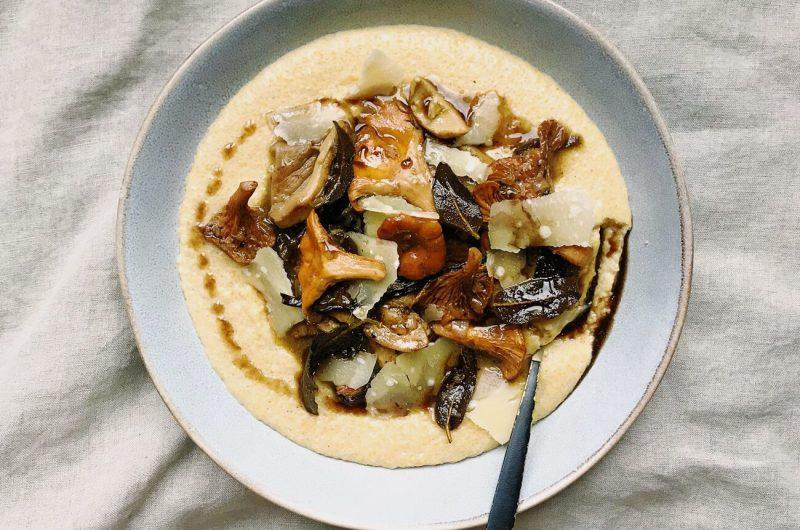 Wild Mushroom Ragoût with Cheesy Polenta