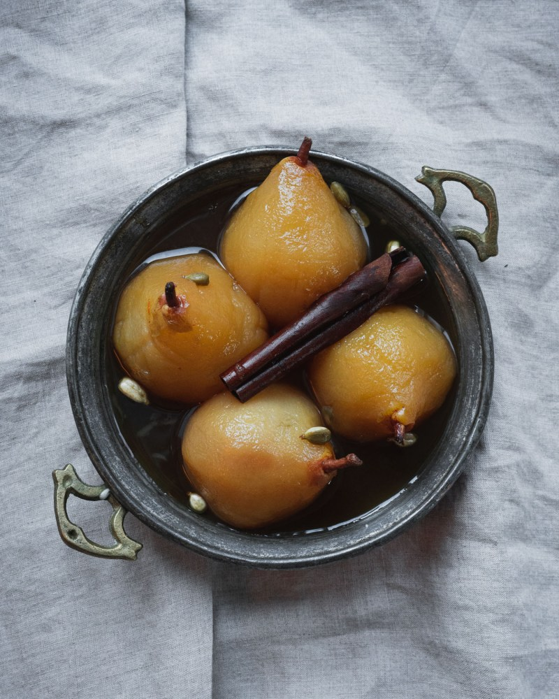 Saffron and Cardamom Poached Pears
