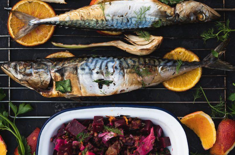 Grilled Mackerel with Blood Orange, Beet, Fennel & Lentil Salad