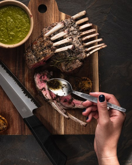 Middle Eastern Za'atar Crusted Rack of Lamb with Zhoug