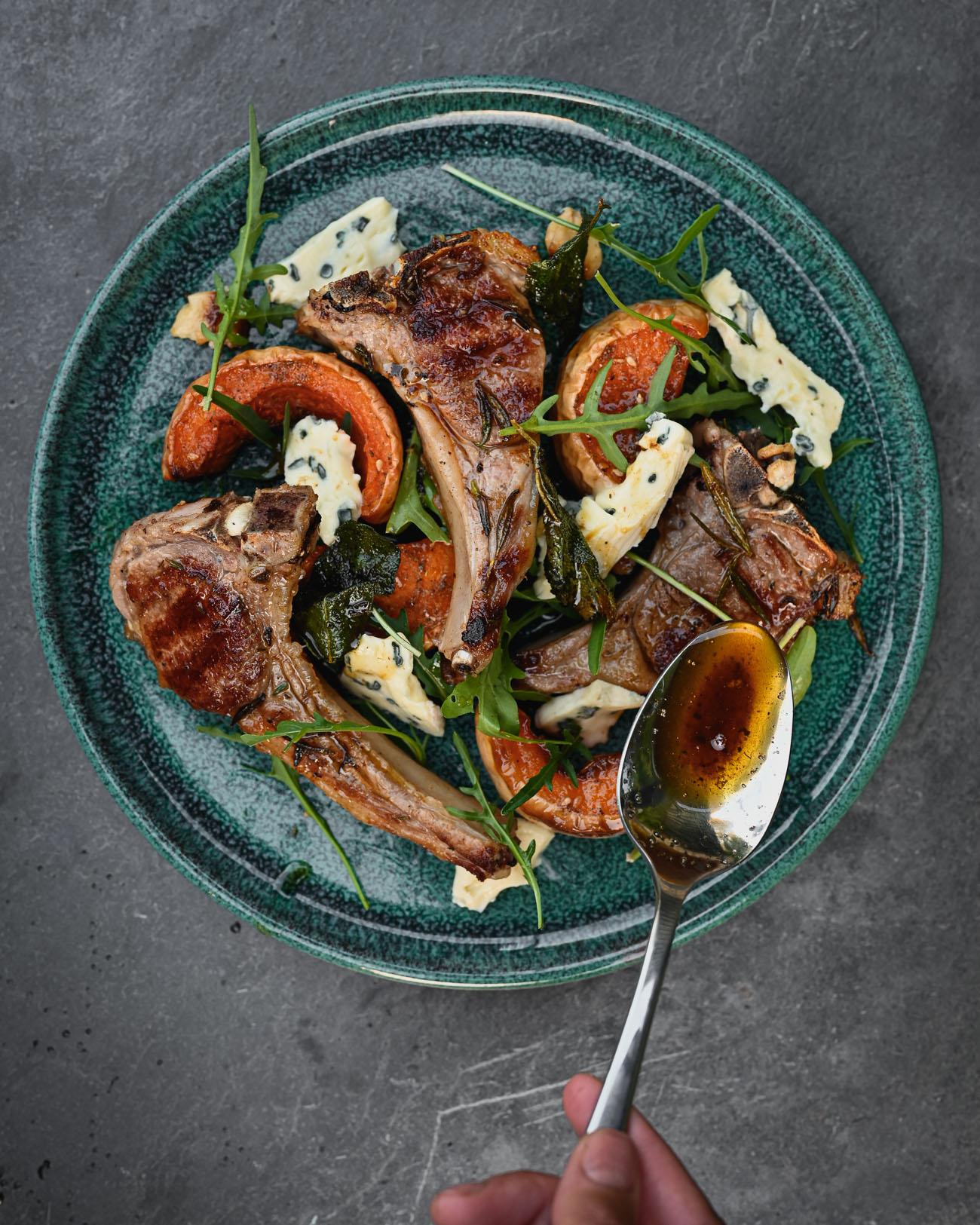 Lamb Chops, Squash and Crispy Sage